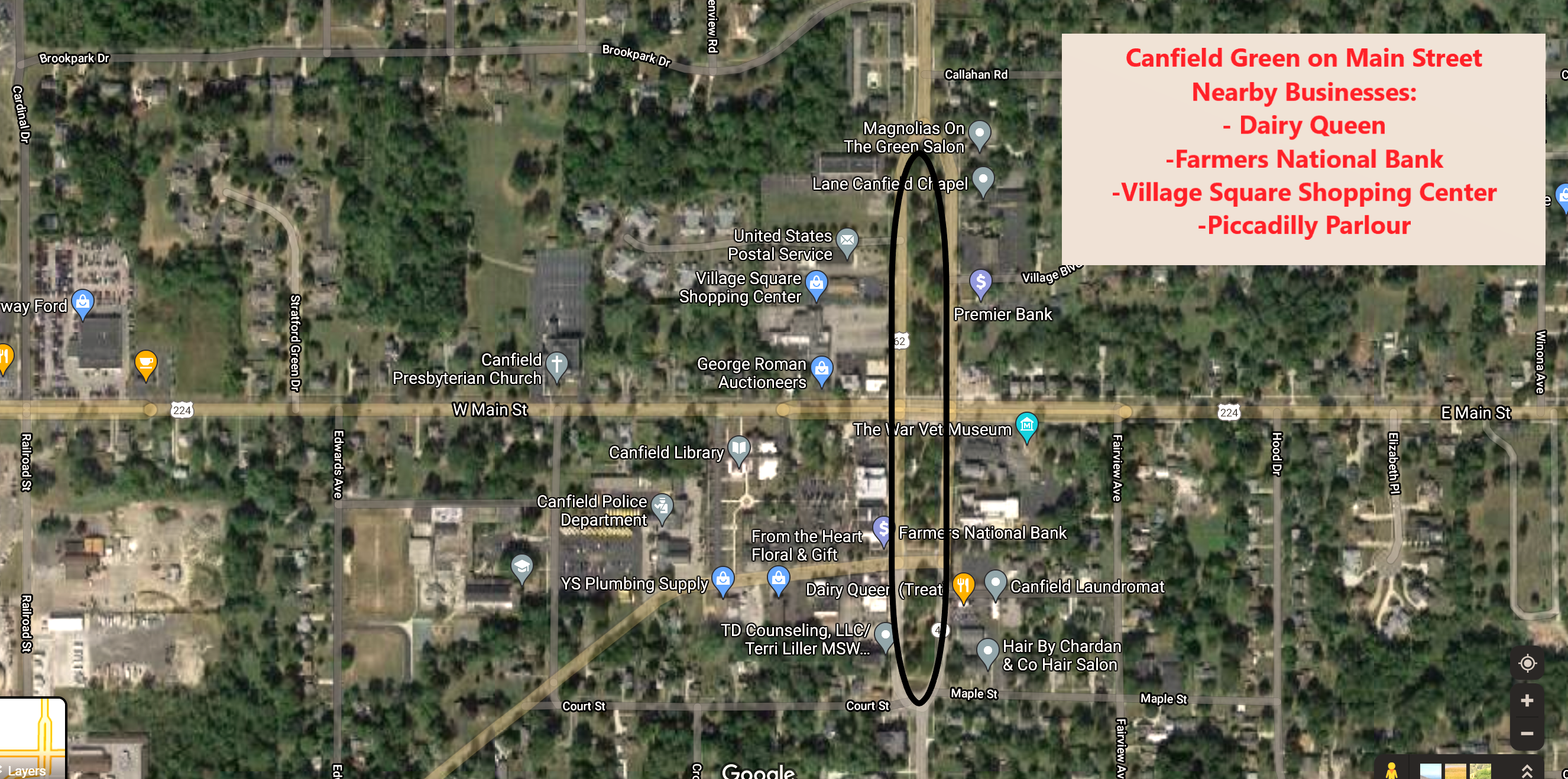 Canfield Green on Main Street Map